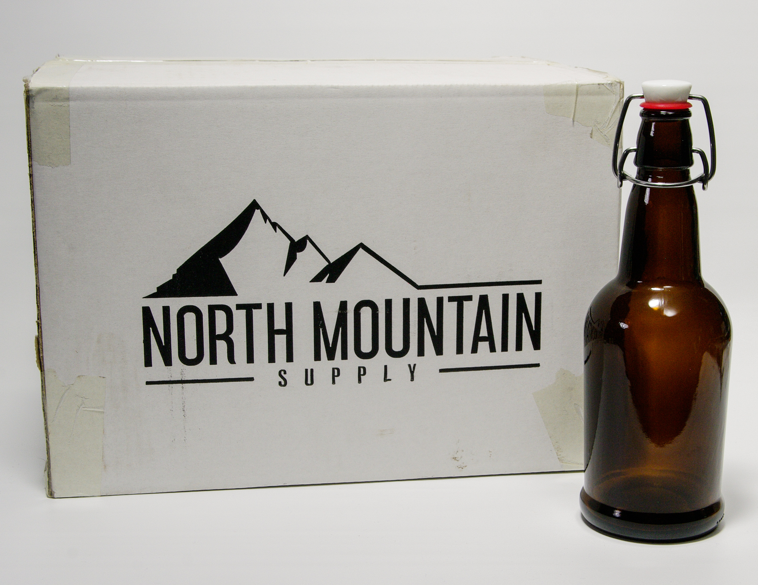 North Mountain Supply Amber 16 Oz Gl Grolsch Style Beer Bottles