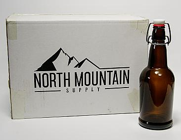 North Mountain Supply Amber 16 oz Glass Grolsch-Style Beer Bottles - With Ceramic Swing Top Caps - Case of 12